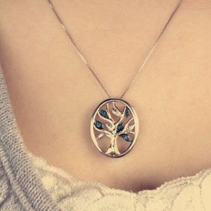 Sterling Silver, 14k Family Tree Necklace.